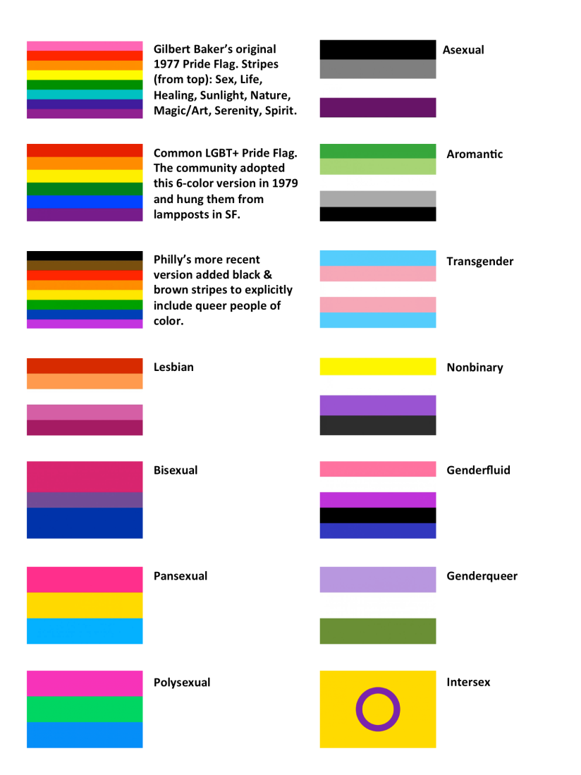 Color images of various pride flags and what they stand for
