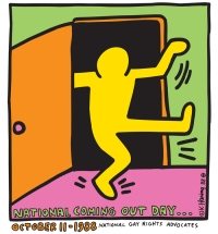 Image: Stylized drawing by Keith Haring in bring colors of person-shaped being exiting a door with above text saying